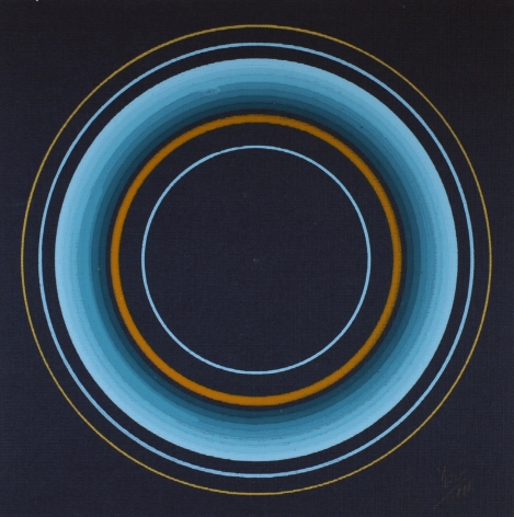 Antonio Asis,Untitled from the series Cercles Concentriques, 2011, Gouache on cardboard,7 3/8 x 7 1/2 in. (18.7 x 18.9 cm.)