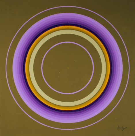 Antonio Asis,Untitled from the series Cercles Concentriques, 2010, Gouache on cardboard,7 1/2 x 7 1/2 in. (19.1 x 19.1 cm.)