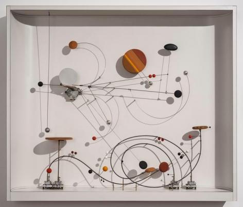 Abraham Palatnik, Objeto Cinético C-15, 1969-2001. Industrial paint, formica, wood, metal, magnets and engine, 30 3/8 x 35 5/8 x 5 7/8 in. / 77 x 90.5 x 14.9cm.