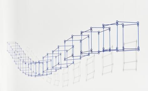 Elias Crespin, 12 cubos en línea bleu, 2020. Painted aluminum, nylon, motors and electronic interface, 90 1/2 x 3 15/16 in. (230 x 10 cm.)