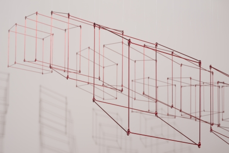 Elias Crespin, Gran 16 cubos rojos, 2020. Painted aluminum, nylon, motors and electronic interface, 71 5/8 x 71 5/8 in. (182 x 182 cm.)