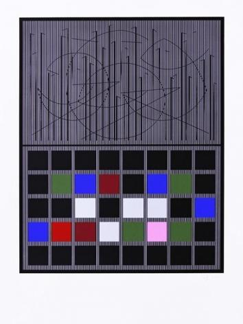 Jesús-Rafael Soto, Rosa negra, Série Bicentenaria, 1982. Serigraph, 69 x 50 cm.