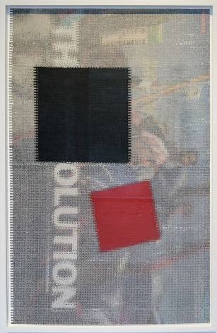 """John Sparagana, The Revolution [with Malevich: """"Black Square and Red Square,""""1915], 2011. Magazine pages with oil stick, sliced and mixed on paper, 19 11/16 x 31 1/2 in."""