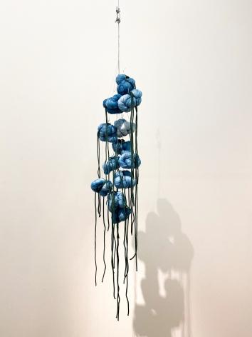 Sandra Monterroso, Puntos en resistencia azul. Edition. 2/13, 2019. Installation Indigo dyed yarn, loop, steel rope, 13 knots, 47 3/16 x 47 3/16 in.