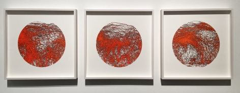 Gustavo Díaz, Not yet titled [triptych], 2019. Cut out paper & pigment, 18 9/16 x 18 9/16 x 2 in. each.