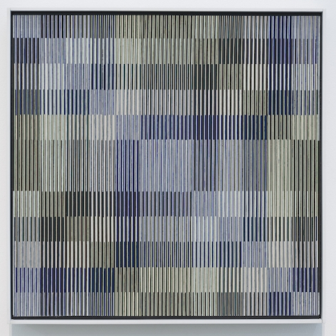 Carlos Cruz-Diez, Physichromie 377, 1968, Cardboard (Celloderme), casein (Plaka), cellulose acetate (Rhodoid) inserts mounted on plywood with wood frame, 24 3/8 x 24 in.