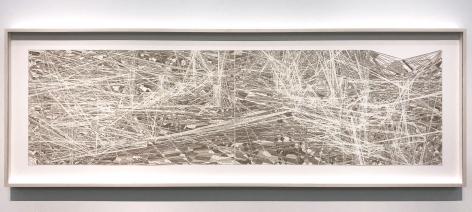 Gustavo Diaz, R/C/01, from the series Las redes prosiguen su camino, el cluster espera en la borrosidad, 2017. Cut paper, 23 3/8 x 69 x 1 3/4 in.