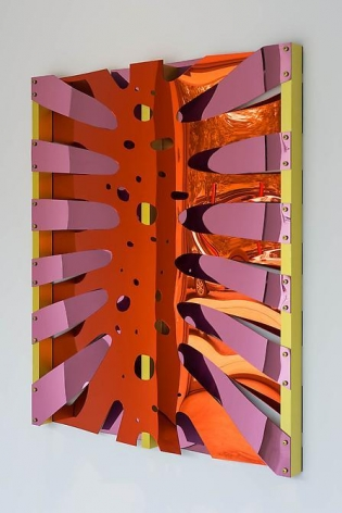 Thomas Glassford, Untitled, 2014. Mirrored Plexiglas and anodized aluminum, 55 3/4 in. x 47 5/8 in. x 3 1/8 in.