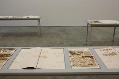 "Oscar Muñoz, Paistiempo, 2007/2012, Pirograph on paper, Edition 5, 22"" x 13.75"" each"