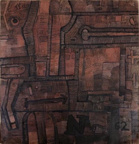 José Gurvich, Composition, 1962. Oil on board, 16 1/2 x 16 1/2 in.