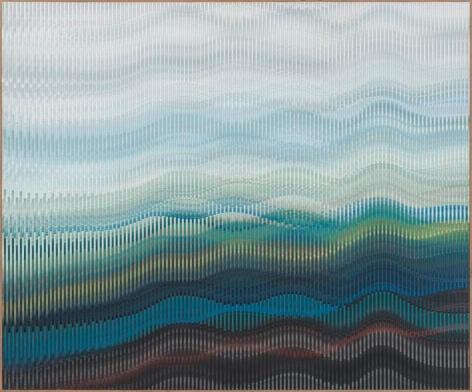 Abraham Palatnik, W-383, 2012. Acrylic on wood, 44 3/8 x 53 1/8 in. / 112.7 x 135 cm.