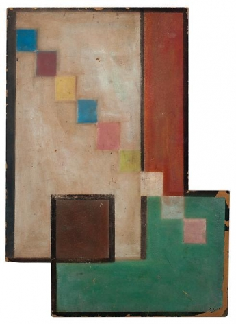 Carmelo Arden Quin, Diagonel des Carrès, 1936, Oil on cardboard, 22 in. x 16 in.