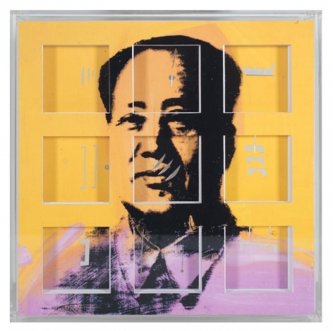 "Marco Maggi, Incomplete Coverage on Warhol (Mao),2013. Cuts and folds on 500 pages, 8"" x 8"" x 2"""