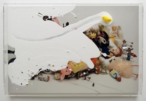 "Liliana Porter, Yellow Duck, 2011, Digital duraflex with assemblage and acrylic paint, 20 1/8"" x 30 1/4""  /  51.1 x 76.8 cm"