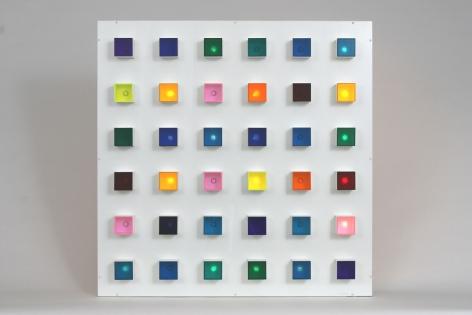 Gregorio Vardanega, Polychromie Electronique 1, 1965-70. Plexiglas, wood, light bulbs, motor, 39 5/8 x 39 1/2 x 7 5/8 in. (100.6 x 100.2 x 19.5 cm.)