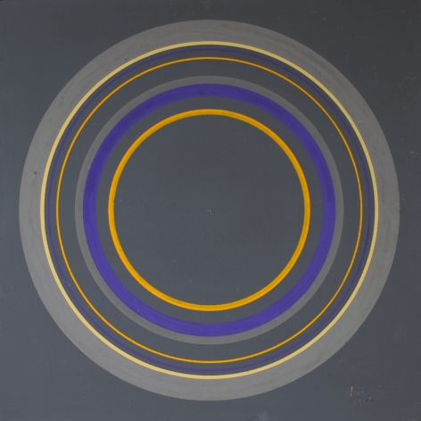 Antonio Asis, Untitled from the series Cercles Concentriques, 1962, Gouache on cardboard, 7 1/2 x 7 1/2 in. (19.1 x 19 cm.)