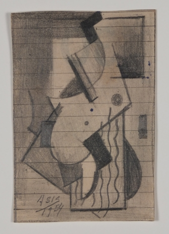 Antonio Asis, Untitled, 1954, Graphite on paper, 3 3/8 x 2 1/16 in. (8.6 x 5.3 cm.)