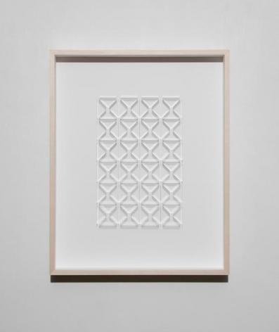 Gabriel de la Mora, CI / 154 I, 2017. Microscope coverslips on cardboard, 20 3/18 x 16 1/2 x 2 3/8 in. / 51.8 x 41.8 x 6 cm.