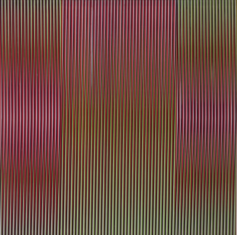 Carlos Cruz-Diez, Physichromie 887, 1976. Aluminum and Plexiglass, 31 1/2 x 31 1/2 in.