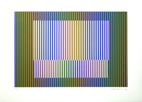 Carlos Cruz-Diez, Induction chromatique a double fréquence, 1990. Serigraph, ed. 42/50, 15 3/4 in. x 23 5/8 in.