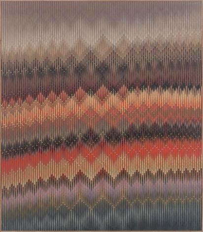 Abraham Palatnik, W-817, 2015.  Acrylic on wood, 49 1/4 x 43 1/4 x 2 in. / 125 x 110 x 5 cm.