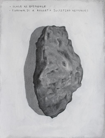 Anna Elise Johnson, Scale as Evidence, 2014. Graphite, spray paint, and gesso on paper, 9 in. x 12 in.