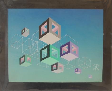 Gregorio Vardanega, Cités Métaphoriques, 1980. Acrylic on wood, 13 3/4 x 17 3/4 in. (34.9 x 45.1 cm.)