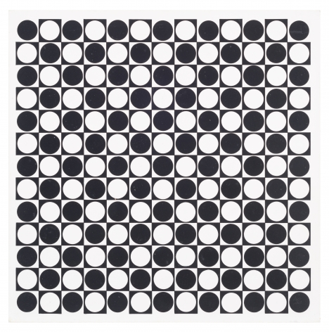 Antonio Asis,Untitled from the series Cercles noirs et blanc en progression, 1962,Gouache on cardboard,15 3/4 x 15 3/4 in. (40 x 40 cm.)