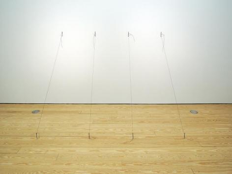Liliana Porter, Untitled (nails), 1973. Wall installation originally consisting of silkscreen, string and nails, Dimensions variable.