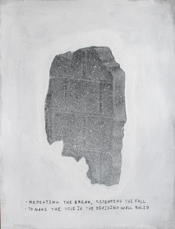 Anna Elise Johnson, Scale as Evidence, 2014. Graphite, spray paint, and gesso on paper, 12 in. x 9 in.