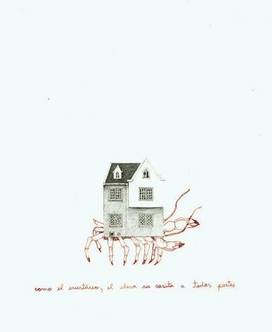 Teresa Currea, Como el crustáceo, 2009, Pencil and ink on paper, 17.5 x 12.5 cm