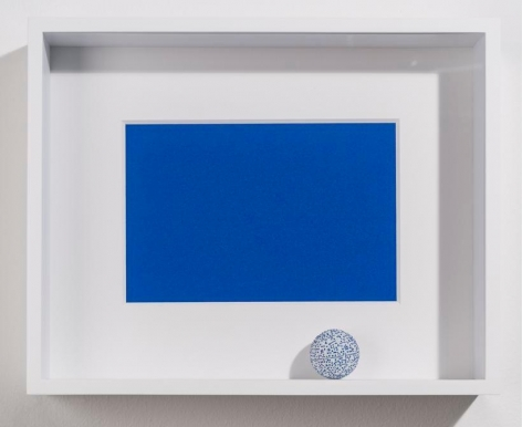 Marco Maggi, Blue Thesis, 2017. Paper Cuts on Ping Pong Ball, 14 x 11 x 2 in. / 35.6 x 27.9 x 5.1 cm.