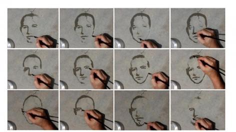 "Oscar Muñoz, Re/trato, 2008, 12 digital prints, Edition of 5, 2 A/P, 24 3/8"" x 16 1/2"" each"