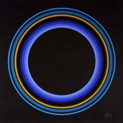 Antonio Asis, Untitled from the series Cercles Concentriques, 2008. Gouache on cardboard, 8 3/8 x 8 3/8 in.