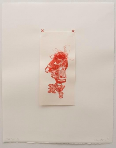 Liliana Porter, Red Girl, 2006. Digital embroidery on paper, 22 in. x 17 1/2 in.