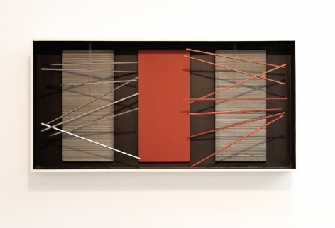 Jesús Rafael Soto, Vibración, Bastones con Rojo, 1964. Mixed media, polychromed wood and metal, 20 1/16 x 40 5/32 x 5 3/32 in. (51 x 102 x 13 cm.)