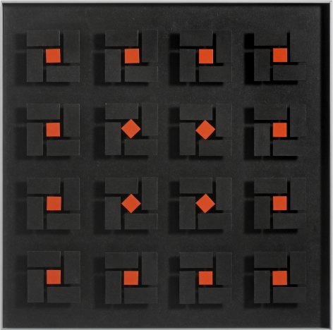 Luis Tomasello, Lumière noire No. 980, 2011, Acrylic on wood, 24 x 24 x 2 1/8 in.