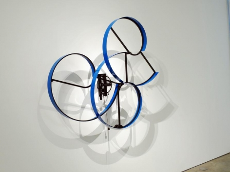 Pedro de Movellan, Cumulus, 2006. Powder coated aluminum and brass, stainless steel, off the wall 16 in. / 40.6 cm. Swing 80 in. / 203.2 cm.