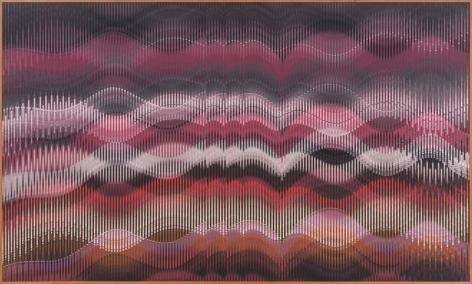 Abraham Palatnik, W-482, 2014. Acrylic on wood, 39 3/4 x 66 3/4 in. / 101 x 169.5 cm.