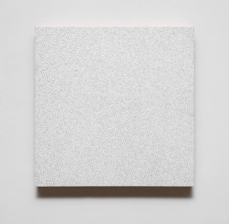 Gabriel de la Mora, 9,114, 2015. Eggshells on wood with graphite, 11 13/16 in. x 11 13/16 in. x 1 5/8 in.