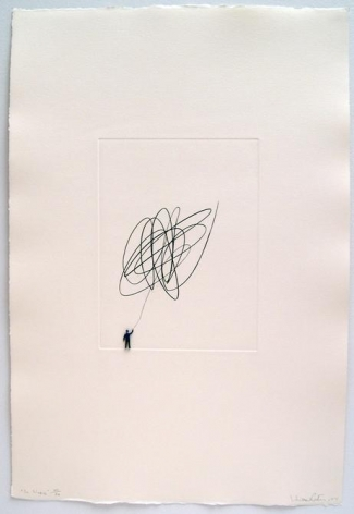 Liliana Porter. La Linea, 2004. Etching and metal figurine on paper, 22.5 x 15.25 in.