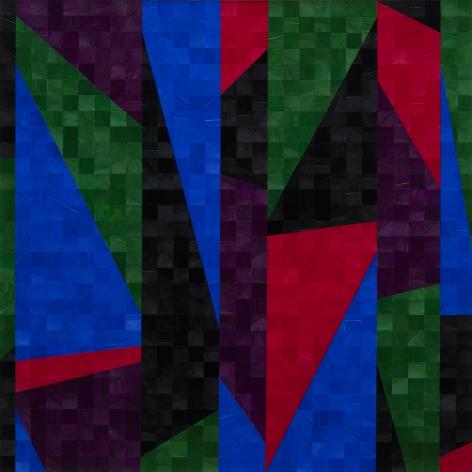 Gabriel de la Mora, 1,076 II, 2020. Pigmented turkey feathers on museum cardboard, 16 7/8 x 16 7/8 x 1 9/16 in. (43 x 43 x 4 cm.)