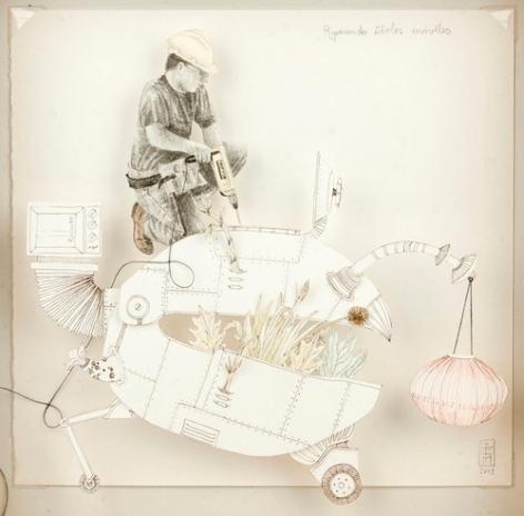 Teresa Currea, Reparando ídolos móviles, 2012, Pencil and ink on paper, 21 x 21 cm