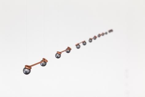 Elias Crespin, Linea Copper, 2016. Copper, lead, nylon, motors and electronic interface, 32 5/8 in. (83 cm.)