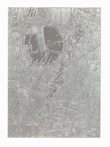 Marco Maggi, Kitchen Circuit, 2008. Engraving on aluminum foil, 28 x 22 in.  / 71 x 55.8 cm.