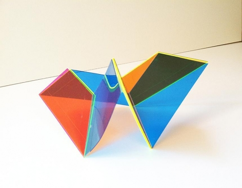 """Marta Chilindron, 9 Trapezoids, 2014. Acrylic, 72"""" overall, 30"""" high."""