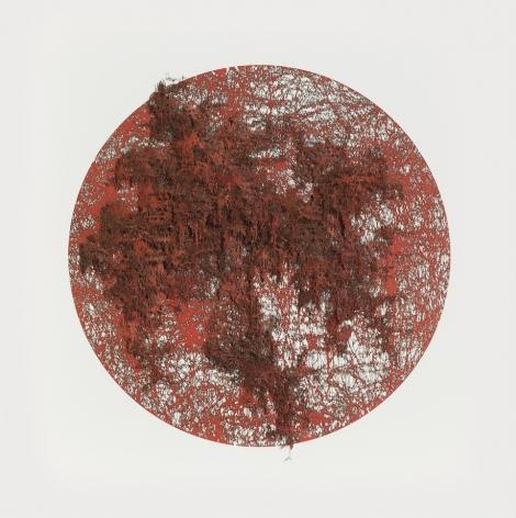 """Gustavo Díaz, De la Serie: """"Excéntricas teorias sobre la incertidumbre"""" Modelo Hipotético 02.Zadeh se aproxima al borroso bosque. Se encuentra con Borges que dice,""""…en el sueño del hombre que soñaba, el soñado se despertó"""". Zadeh es el soñado., 2019., Cut out paper, pigment, & colored pencil, 25 5/8 x 25 5/8 x 3 1/2 in. (65.1 x 65.1 x 8.9 cm.)"""