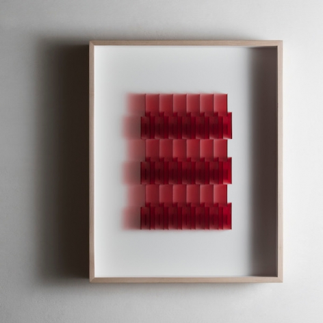 Gabriel de la Mora, CI / 84 III, 2017. Microscope coverslips and lacquer on cardboard, 16 5/8 x 20 5/8 x 2 3/8 in. / 42.1 x 52.3 x 6 cm.