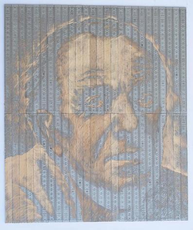 "Pedro Tyler, Gilles Deleuze, 2012, Bas-relief, wooden rulers, 16.9"" x 19.7"""