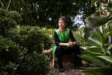 Maria Fernanda Cardoso in her garden, Sydney, Australia, 2020. Photograph: Daniel Boud.